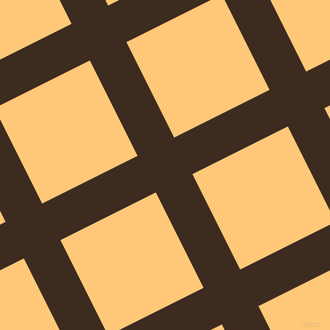 27/117 degree angle diagonal checkered chequered lines, 82 pixel lines width, 214 pixel square size, Bistre and Chardonnay plaid checkered seamless tileable