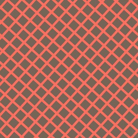 48/138 degree angle diagonal checkered chequered lines, 8 pixel line width, 27 pixel square size, Bittersweet and Pine Cone plaid checkered seamless tileable