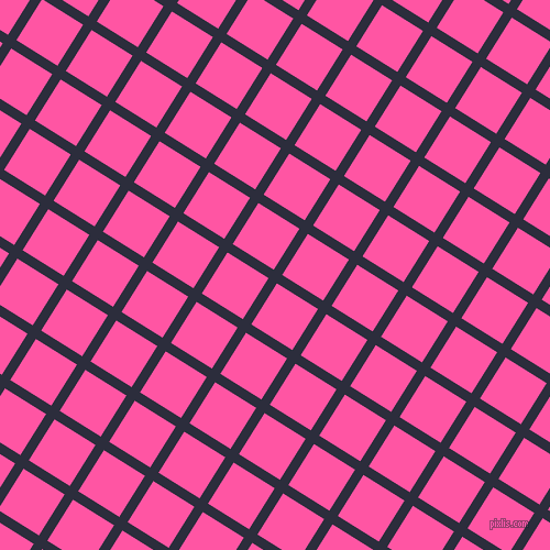 58/148 degree angle diagonal checkered chequered lines, 9 pixel lines width, 44 pixel square size, Black Rock and Brilliant Rose plaid checkered seamless tileable