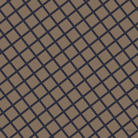 38/128 degree angle diagonal checkered chequered lines, 7 pixel line width, 35 pixel square size, Black Rock and Donkey Brown plaid checkered seamless tileable