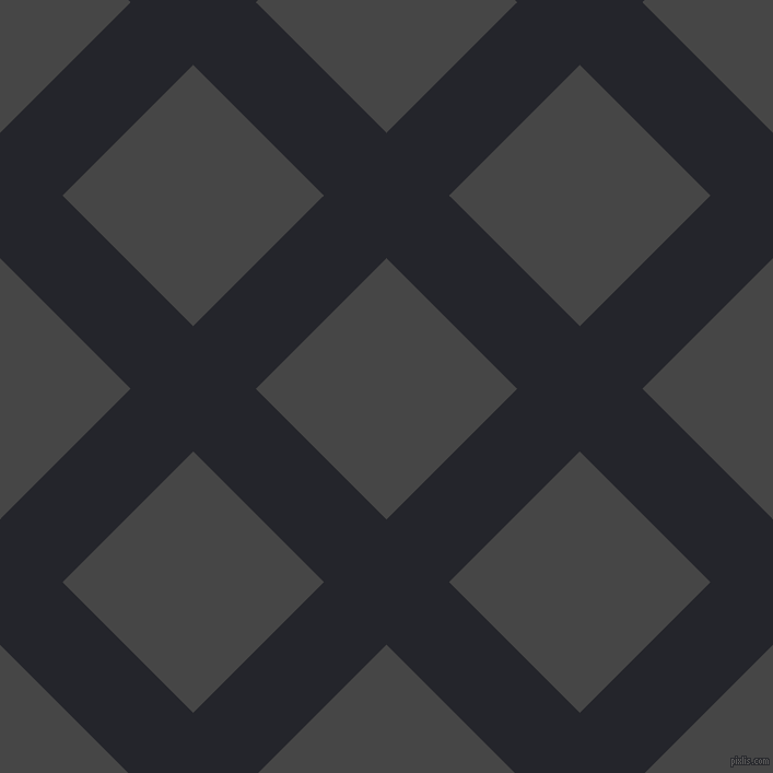 45/135 degree angle diagonal checkered chequered lines, 81 pixel line width, 169 pixel square size, Black Russian and Charcoal plaid checkered seamless tileable