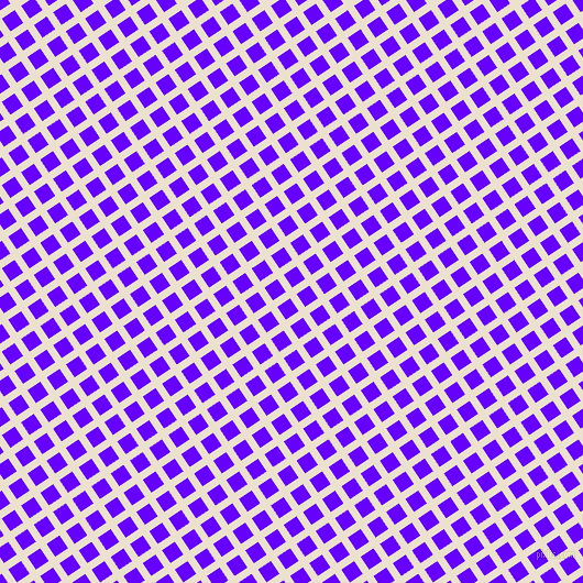 34/124 degree angle diagonal checkered chequered lines, 7 pixel line width, 14 pixel square size, Bleach White and Electric Indigo plaid checkered seamless tileable