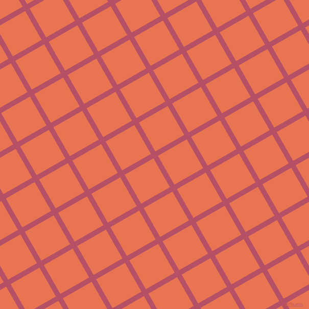 30/120 degree angle diagonal checkered chequered lines, 10 pixel line width, 65 pixel square size, Blush and Burnt Sienna plaid checkered seamless tileable