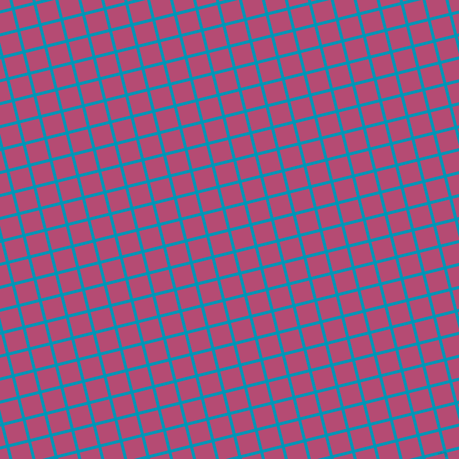 14/104 degree angle diagonal checkered chequered lines, 6 pixel line width, 38 pixel square size, Bondi Blue and Royal Heath plaid checkered seamless tileable