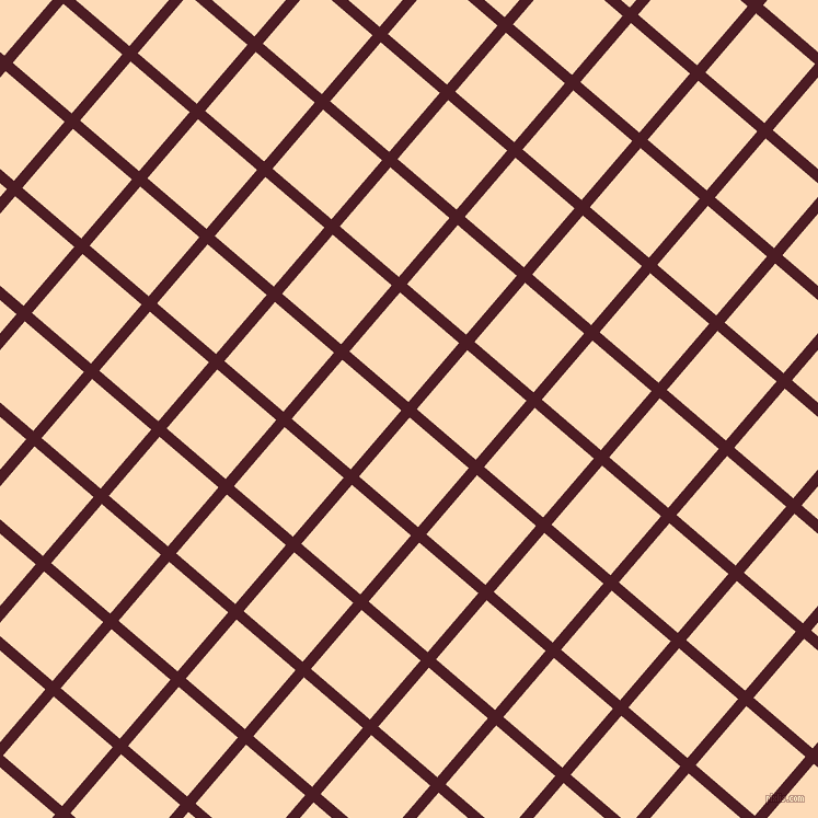 49/139 degree angle diagonal checkered chequered lines, 10 pixel line width, 71 pixel square size, Bordeaux and Sandy Beach plaid checkered seamless tileable