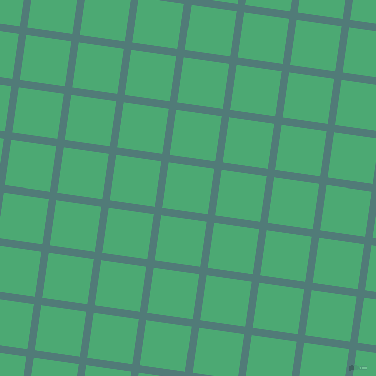 82/172 degree angle diagonal checkered chequered lines, 15 pixel line width, 91 pixel square size, Breaker Bay and Ocean Green plaid checkered seamless tileable