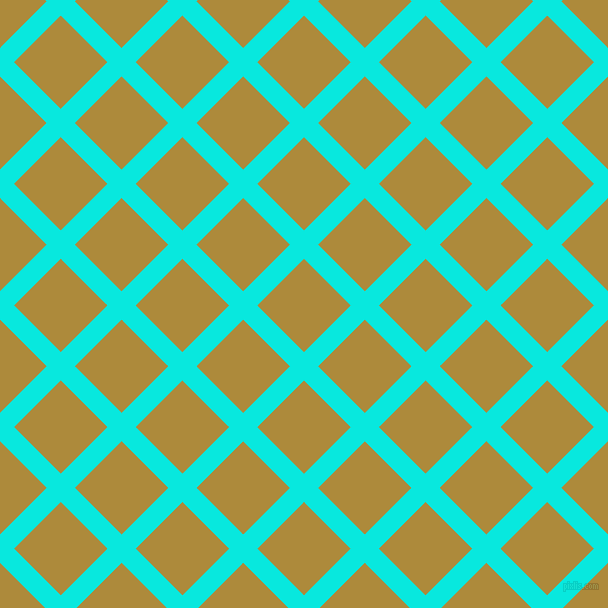 45/135 degree angle diagonal checkered chequered lines, 20 pixel lines width, 66 pixel square size, Bright Turquoise and Alpine plaid checkered seamless tileable