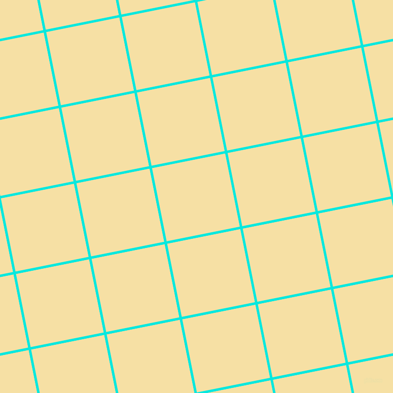 11/101 degree angle diagonal checkered chequered lines, 5 pixel line width, 147 pixel square size, Bright Turquoise and Buttermilk plaid checkered seamless tileable