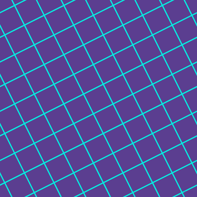 27/117 degree angle diagonal checkered chequered lines, 5 pixel line width, 83 pixel square size, Bright Turquoise and Daisy Bush plaid checkered seamless tileable
