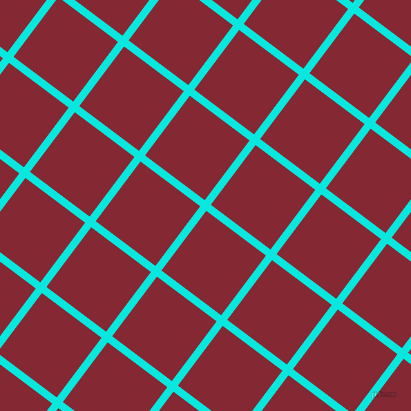 53/143 degree angle diagonal checkered chequered lines, 11 pixel lines width, 108 pixel square size, Bright Turquoise and Shiraz plaid checkered seamless tileable