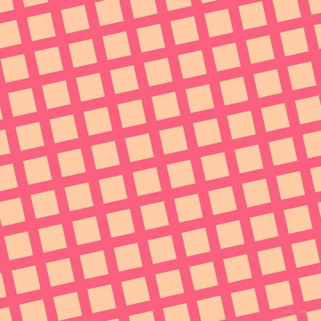13/103 degree angle diagonal checkered chequered lines, 15 pixel lines width, 35 pixel square size, Brink Pink and Peach plaid checkered seamless tileable