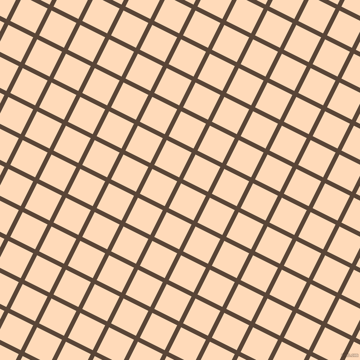63/153 degree angle diagonal checkered chequered lines, 9 pixel line width, 57 pixel square size, Brown Derby and Peach Puff plaid checkered seamless tileable