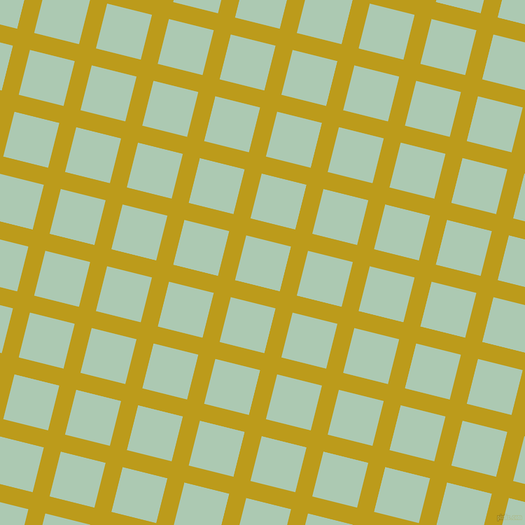 76/166 degree angle diagonal checkered chequered lines, 25 pixel lines width, 66 pixel square size, Buddha Gold and Gum Leaf plaid checkered seamless tileable