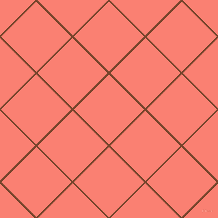 45/135 degree angle diagonal checkered chequered lines, 6 pixel lines width, 172 pixel square size, Bull Shot and Salmon plaid checkered seamless tileable