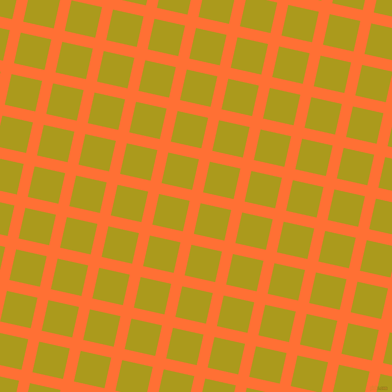 77/167 degree angle diagonal checkered chequered lines, 23 pixel line width, 64 pixel square size, Burnt Orange and Lucky plaid checkered seamless tileable