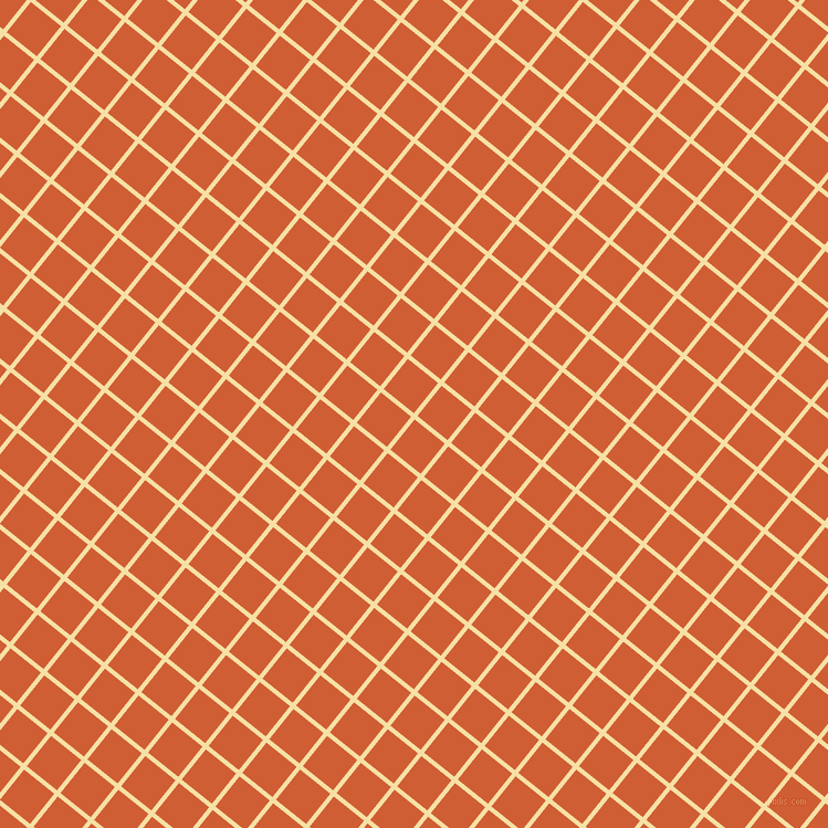 51/141 degree angle diagonal checkered chequered lines, 4 pixel lines width, 35 pixel square size, Buttermilk and Chilean Fire plaid checkered seamless tileable