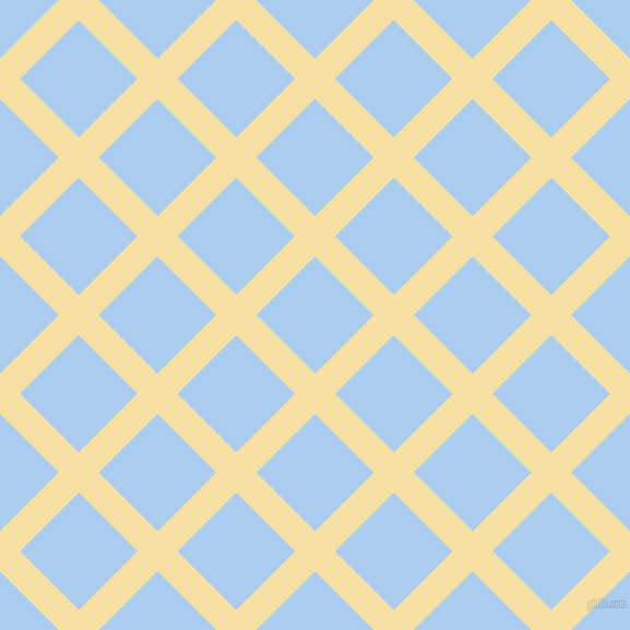 45/135 degree angle diagonal checkered chequered lines, 26 pixel lines width, 76 pixel square size, Buttermilk and Pale Cornflower Blue plaid checkered seamless tileable