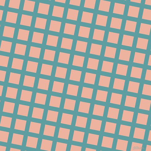 79/169 degree angle diagonal checkered chequered lines, 14 pixel line width, 34 pixel square size, Cadet Blue and Wax Flower plaid checkered seamless tileable