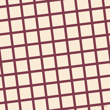 7/97 degree angle diagonal checkered chequered lines, 10 pixel lines width, 47 pixel square size, Camelot and Antique White plaid checkered seamless tileable