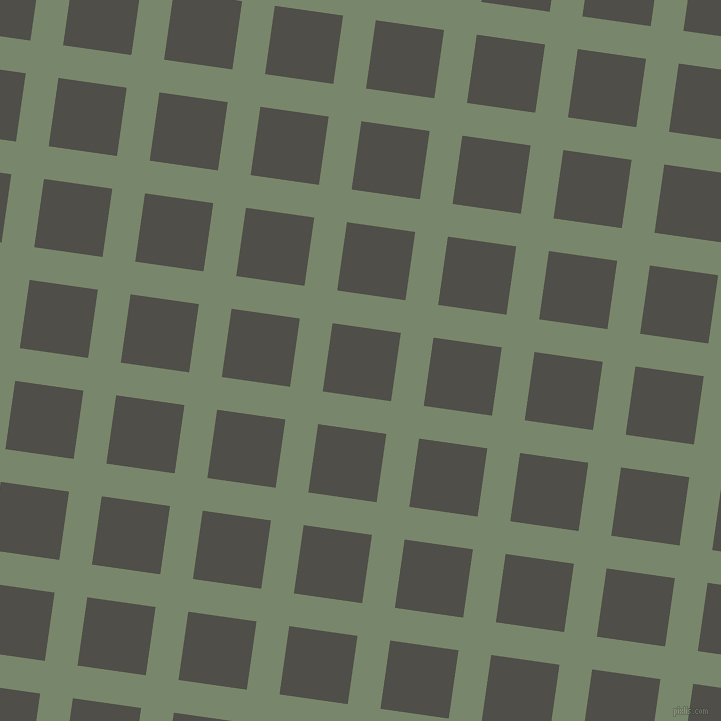 82/172 degree angle diagonal checkered chequered lines, 33 pixel line width, 69 pixel square size, Camouflage Green and Merlin plaid checkered seamless tileable