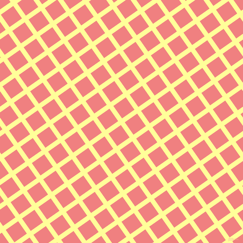 35/125 degree angle diagonal checkered chequered lines, 16 pixel line width, 51 pixel square size, Canary and Light Coral plaid checkered seamless tileable