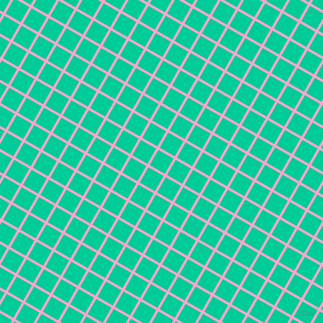 60/150 degree angle diagonal checkered chequered lines, 5 pixel line width, 35 pixel square size, Carnation Pink and Caribbean Green plaid checkered seamless tileable