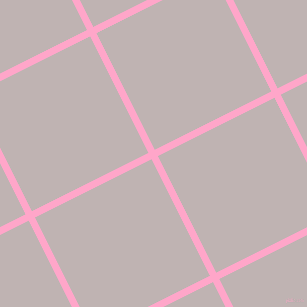 27/117 degree angle diagonal checkered chequered lines, 14 pixel line width, 259 pixel square size, Carnation Pink and Pink Swan plaid checkered seamless tileable