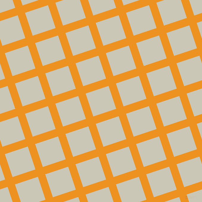 18/108 degree angle diagonal checkered chequered lines, 26 pixel line width, 81 pixel square size, Carrot Orange and Chrome White plaid checkered seamless tileable