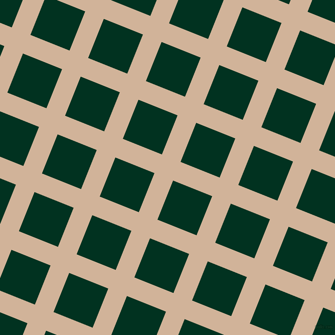 68/158 degree angle diagonal checkered chequered lines, 40 pixel line width, 84 pixel square size, Cashmere and Dark Green plaid checkered seamless tileable