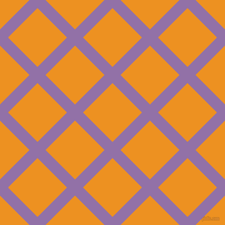 45/135 degree angle diagonal checkered chequered lines, 23 pixel line width, 84 pixel square size, Ce Soir and Carrot Orange plaid checkered seamless tileable