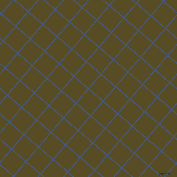 49/139 degree angle diagonal checkered chequered lines, 4 pixel line width, 59 pixel square size, Chambray and Bronze Olive plaid checkered seamless tileable