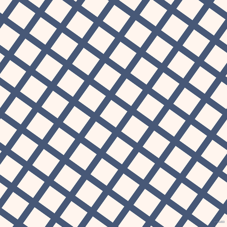 54/144 degree angle diagonal checkered chequered lines, 22 pixel line width, 67 pixel square size, Chambray and Seashell plaid checkered seamless tileable