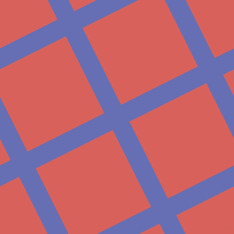 27/117 degree angle diagonal checkered chequered lines, 61 pixel line width, 280 pixel square size, Chetwode Blue and Roman plaid checkered seamless tileable