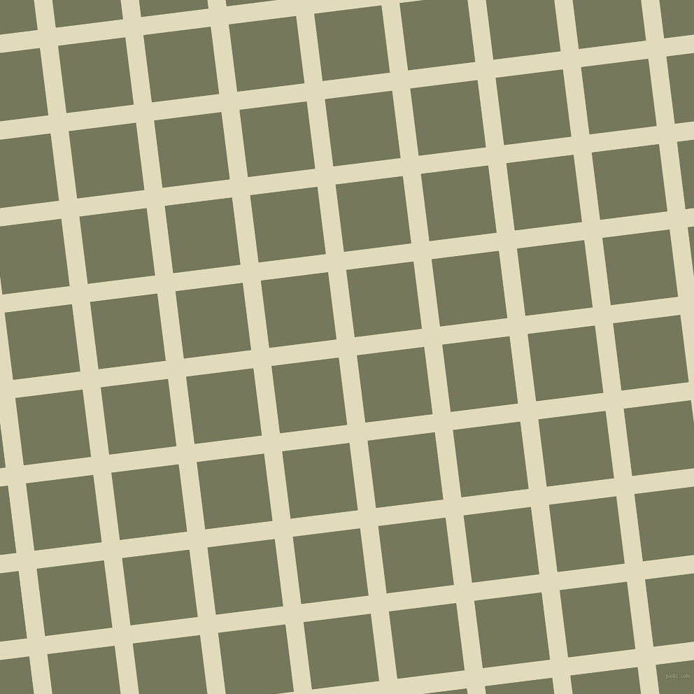 7/97 degree angle diagonal checkered chequered lines, 26 pixel lines width, 97 pixel square size, Coconut Cream and Finch plaid checkered seamless tileable