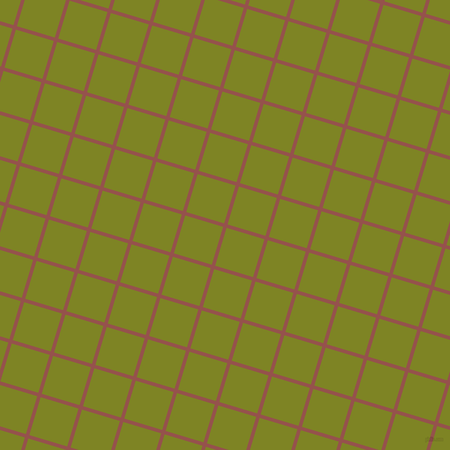 73/163 degree angle diagonal checkered chequered lines, 7 pixel line width, 78 pixel square size, Copper Rust and Trendy Green plaid checkered seamless tileable