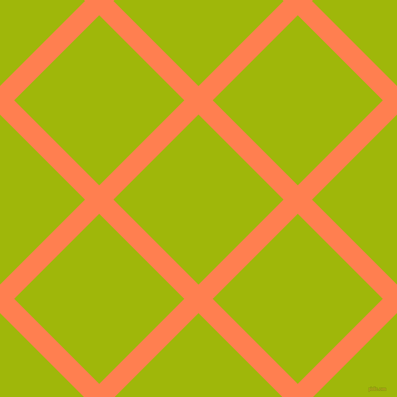 45/135 degree angle diagonal checkered chequered lines, 40 pixel line width, 239 pixel square size, Coral and Citrus plaid checkered seamless tileable