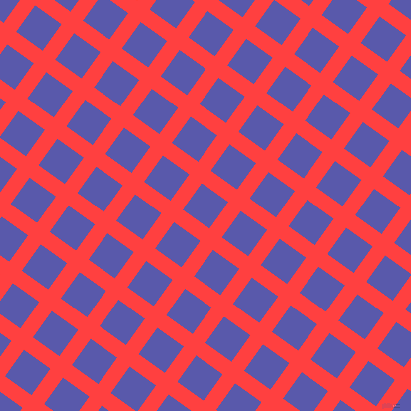54/144 degree angle diagonal checkered chequered lines, 31 pixel line width, 65 pixel square size, Coral Red and Rich Blue plaid checkered seamless tileable