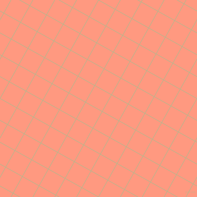 61/151 degree angle diagonal checkered chequered lines, 2 pixel lines width, 64 pixel square size, Coriander and Vivid Tangerine plaid checkered seamless tileable