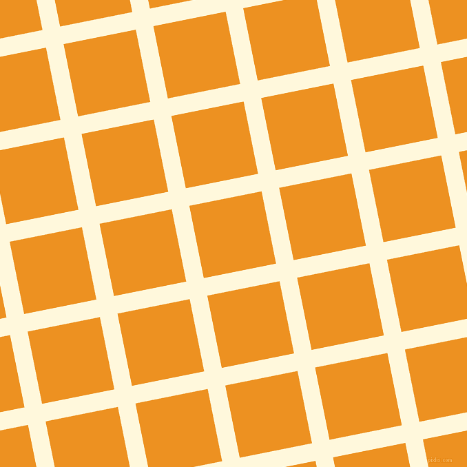 11/101 degree angle diagonal checkered chequered lines, 26 pixel lines width, 107 pixel square size, Corn Silk and Carrot Orange plaid checkered seamless tileable