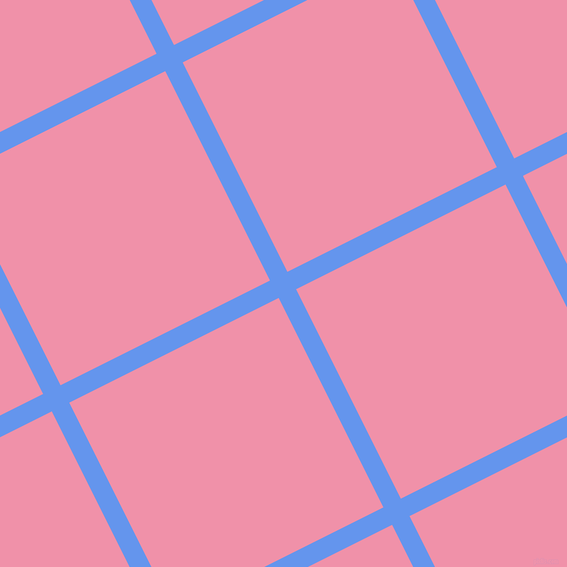 27/117 degree angle diagonal checkered chequered lines, 28 pixel lines width, 337 pixel square size, Cornflower Blue and Mauvelous plaid checkered seamless tileable