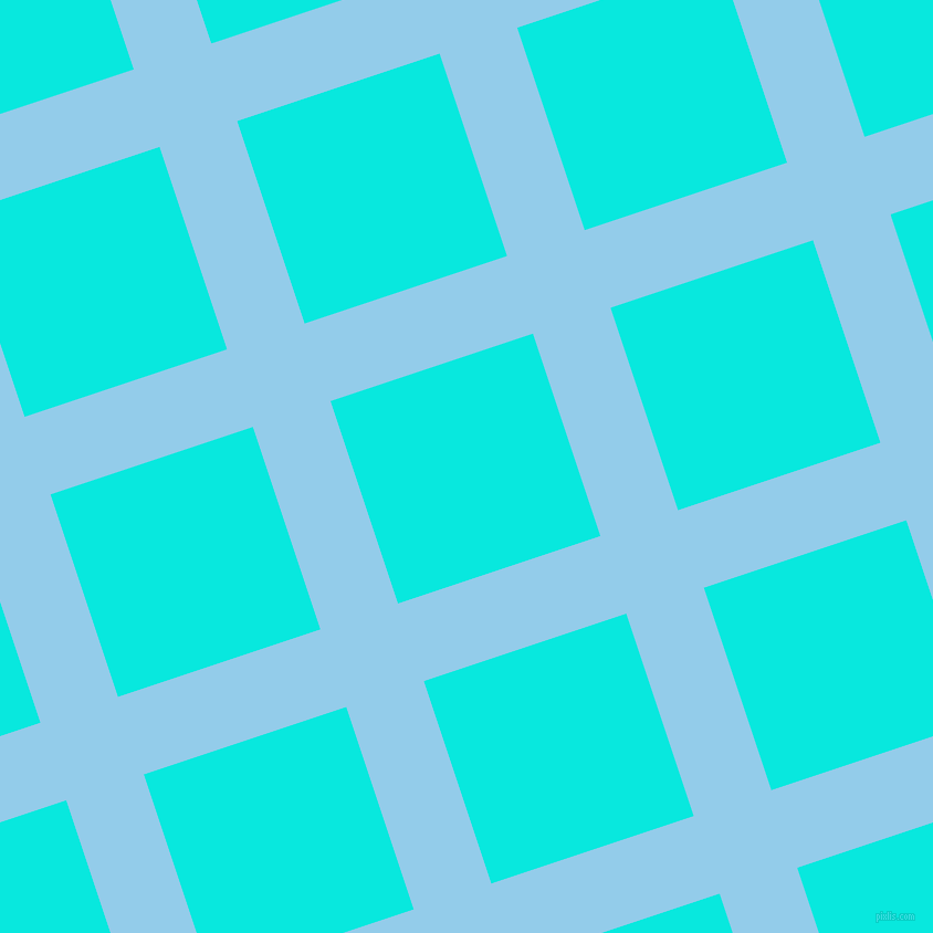 18/108 degree angle diagonal checkered chequered lines, 74 pixel line width, 193 pixel square size, Cornflower and Bright Turquoise plaid checkered seamless tileable
