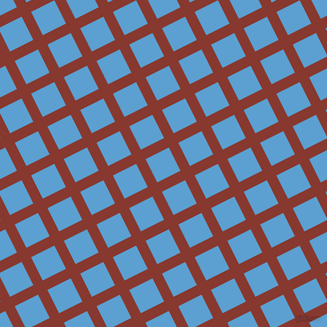 27/117 degree angle diagonal checkered chequered lines, 15 pixel lines width, 37 pixel square size, Crab Apple and Picton Blue plaid checkered seamless tileable