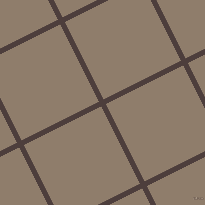27/117 degree angle diagonal checkered chequered lines, 18 pixel lines width, 300 pixel square size, Crater Brown and Squirrel plaid checkered seamless tileable