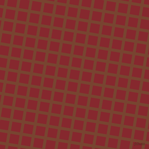 81/171 degree angle diagonal checkered chequered lines, 10 pixel lines width, 31 pixel square size, Cumin and Flame Red plaid checkered seamless tileable
