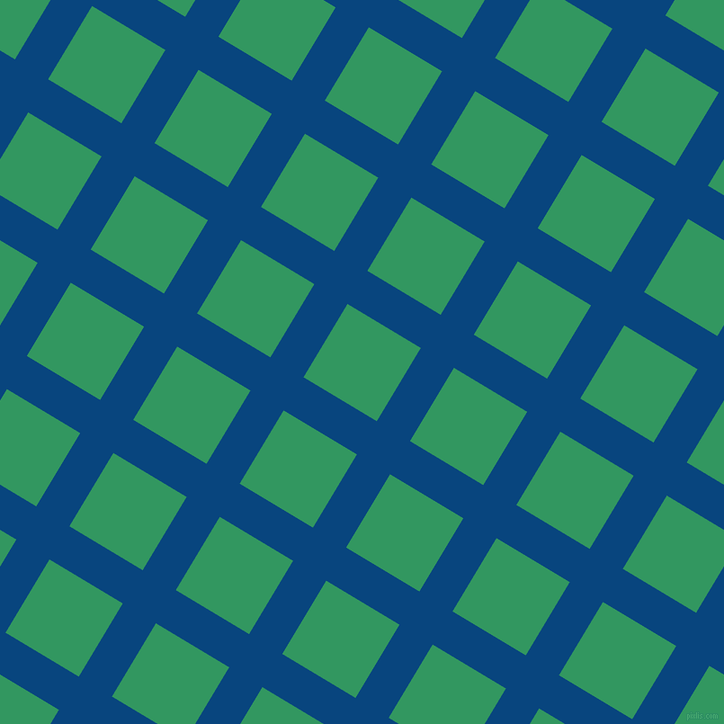 59/149 degree angle diagonal checkered chequered lines, 43 pixel lines width, 95 pixel square size, Dark Cerulean and Eucalyptus plaid checkered seamless tileable
