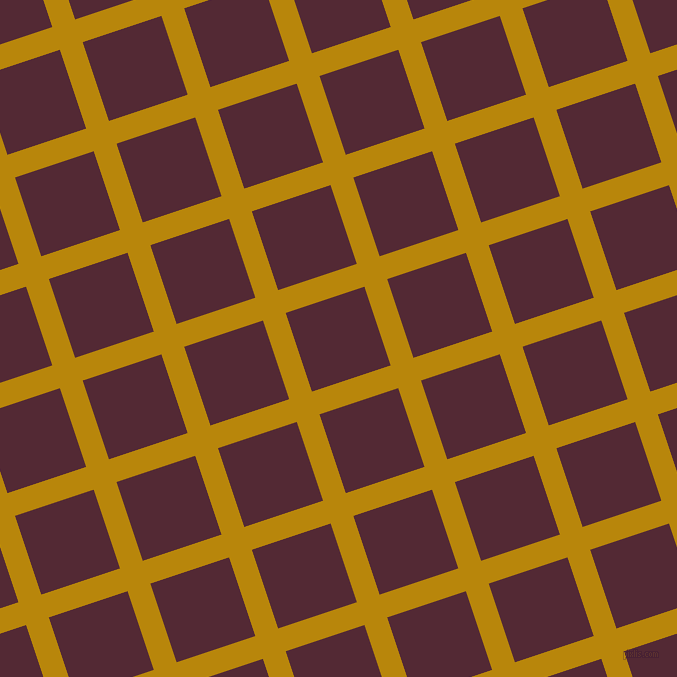 18/108 degree angle diagonal checkered chequered lines, 24 pixel lines width, 83 pixel square size, Dark Goldenrod and Black Rose plaid checkered seamless tileable
