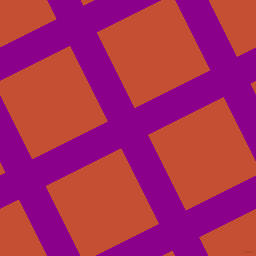 27/117 degree angle diagonal checkered chequered lines, 97 pixel lines width, 275 pixel square size, Dark Magenta and Trinidad plaid checkered seamless tileable