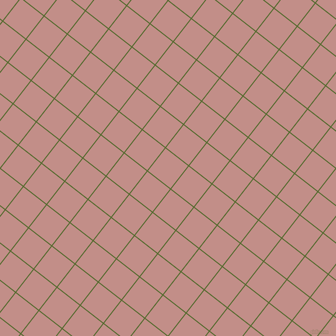 52/142 degree angle diagonal checkered chequered lines, 2 pixel lines width, 57 pixel square size, Dark Olive Green and Oriental Pink plaid checkered seamless tileable