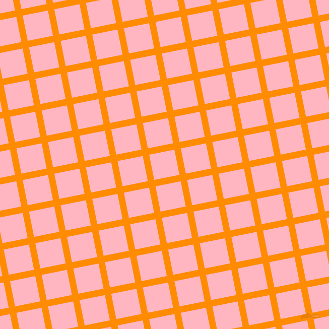 11/101 degree angle diagonal checkered chequered lines, 13 pixel line width, 51 pixel square size, Dark Orange and Light Pink plaid checkered seamless tileable