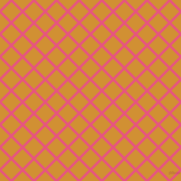 45/135 degree angle diagonal checkered chequered lines, 8 pixel lines width, 43 pixel square size, Dark Pink and Fuel Yellow plaid checkered seamless tileable